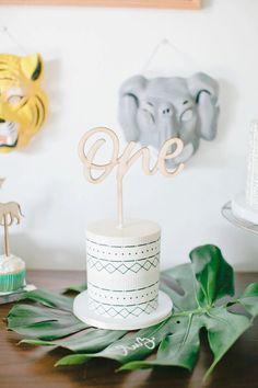 Smash cake from a Jungle 1st Birthday Party on Kara's Party Ideas | KarasPartyIdeas.com (30)