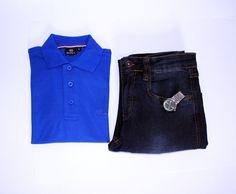 A aposta na calça jeans é sempre certeira, com uma camisa polo então… Aí é que não dá para errar no visual. #temnajustenjoy #estilo [Camisa polo azul R$ 54,90 | Calça jeans azul esc. R$ 99,00]