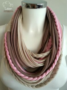 t shirt scarf t shirt infinity scarf strips  scarf by Lulaor