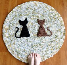 Two Cat Rug by recyclingartistemily, via Flickr