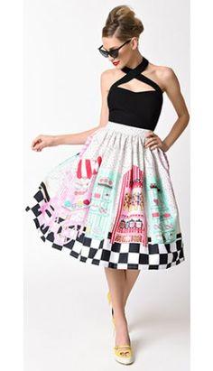 Unique Vintage 1950s Candy Shop High Waist Circle Swing Skirt