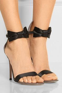 Satin and patent-leather sandals