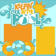 Scrapbook Page Kit 2-page 12X12 Premade Scrapbooking Page Layout or Page Kit - Pool/Swimming/Summer/Keeping Cool In the Pool by MemoriesByDezyn on Etsy
