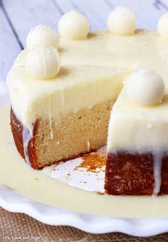 White Chocolate Truffle Cake -- Dense Vanilla Cake with White Chocolate Truffle Topping and Lindor Truffles