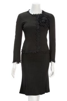 Moschino Black Ruffle 2-Piece Skirt Suit