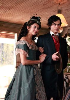 Nina Dobrev as Katherine Pierce and Ian Somerhalder as Damon Salvatore in The Vampire Diaries (TV Series, 2010).