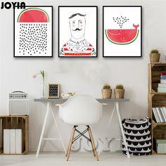 Cartoon Fruit Watermelon Whale Man Canvas Wall Art Print Minimalist Modern Home Decor Painting Posters Baby Kid Room Wall Decor