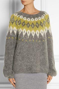 DAY Birger et Mikkelsen - Embellished mohair-blend sweater Marled Sweater, Knit Cardigan, Nylons, Leather Leggings, Knit Crochet, Crochet Tops, Knitwear, Knitting Patterns, Pullover