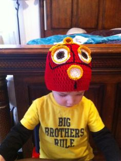 A traintastic Chuggington knit hat featuring Wilson, handmade by one of our Facebook fans.