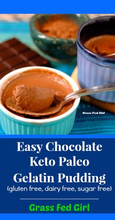 Easy chocolate keto paleo gelatin pudding (gluten-free, dairy-free, sugar free) (IF you can tolerate chocolate. and coconut milk. or stevia! Low Carb Sweets, Paleo Dessert, Low Carb Desserts, Healthy Sweets, Dairy Free Recipes, Low Carb Recipes, Whole Food Recipes, Gluten Free, Milk Recipes