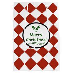 Merry Christmas with diamond pattern Medium Gift Bag