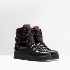 ZARA - SHOES & BAGS - LEATHER WEDGE MOUNTAIN BOOTIE