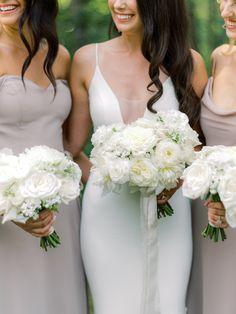 Calgary florist, Flowers by Janie designed all white wedding bouquets for our bride & her bridesmaids with the fluffiest and most romantic blooms including peonies, ranunculus and garden roses. The bridal bouquet had trailing silk ribbons from @stellawolfeco Photo @miltonphoto Planning @momentsbymadeleine #whiteweddingflowers #whitebridalbouquet #ranunculusbouquet #calgaryweddings #whitepeonybouquet #whiteweddingbouquets #silkribbon #calgaryflorist #calgary All White Wedding, White Wedding Bouquets, Bridesmaid Bouquet, Bridal Bouquets, Floral Wedding, Bridesmaids, Dream Wedding, Wedding Dresses, White Peonies Bouquet