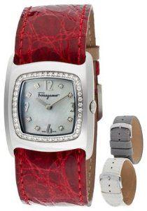 Women's White MOP with Diamond Dial Red Genuine Crocodile #LuxuryWatchClub #ferragamo #luxurywatches
