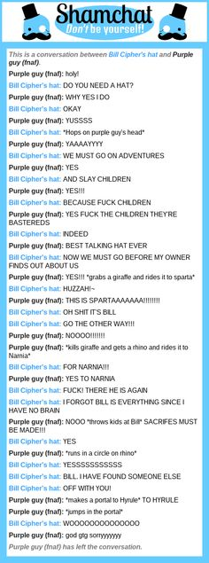 A conversation between Purple guy (fnaf) and Bill Cipher's hat