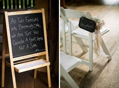 chalkboard wedding signs http://trendybride.net/the-enchanted-barn-hillsdale-wisconsin-wedding/  Love!