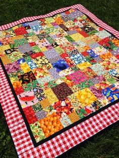 Foodie picnic quilt using food fabrics and the Yellow Brick Road quilt pattern, by Daisy Days Big Block Quilts, Strip Quilts, Small Quilts, Quilting Projects, Quilting Designs, Quilting Ideas, Sewing Projects, Gingham Quilt, Red Gingham