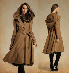a classic feminine coat for winter  【Characteristic】 Extravagant flattering coat , so elegant and comfy ... Perfect solution for your everyday outfit:) ...not only... This would be  turn around  garment wherever you go! Dare To Wear!  【Details】 1. wrap up warm this autumn / winter. 2. The synched in waistline with self-tie belt will accentuate your curves beautifully. 3. Oversize hood 4. The dress has been cut with a knee length. elegant and romantic. 5. so flattering skirt bottom  【Fabric】…