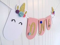 Unicorn Banner - Unicorn Party Banner - Unicorn First Birthday - Unicorn Party - Unicorn Decorations - Unicorn Theme Party - Pink and Gold Girl First Birthday, Unicorn Birthday Parties, First Birthday Parties, First Birthdays, Birthday Ideas, Birthday Table, Pink Und Gold, Gold 1, Unicorn Banner