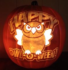 Happy Owl-o-Ween! Stoneykins pattern carved on a foam pumpkin by WynterSolstice
