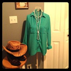 """Selling this """"Teal Chiffon Button Up Top"""" in my Poshmark closet! My username is: sunny82985. #shopmycloset #poshmark #fashion #shopping #style #forsale #The Arte by Zenana #Tops"""