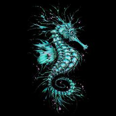 Cyan Seahorse T-shirt Design by TAOJB