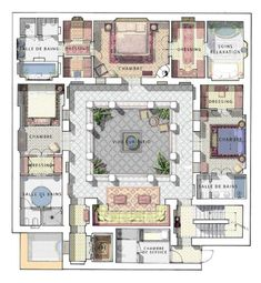 Casa Patio, Casas The Sims 4, Suburban House, Internal Courtyard, Interior Garden, Interior Courtyard House Plans, House Layouts, House Floor Plans, Large Floor Plans