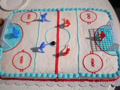 hockey rink cake, this is a must for Todd.