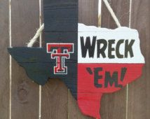 Rustic Wooden Texas Tech University Texas Shaped Flag Door/Wall Hanging
