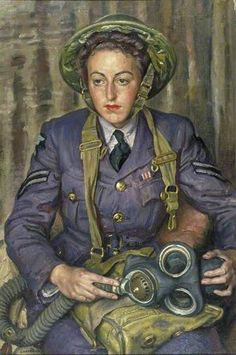 'Corporal J. Robins, Women's Auxiliary Air Force', 1941 by Dame Laura Knight ~ IWM (Imperial War Museums) Arte Dc Comics, Sir Anthony, Knight Art, English Artists, British Artists, National Portrait Gallery, Camille Pissarro, Art Uk, Military Art
