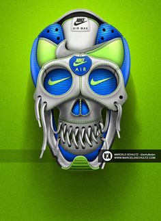 Talented Brazilian artist Marcelo Schultz has designed a collection of beautiful skulls using textures and colors from iconic Nike shoes in Adobe Iphone Wallpaper Photos, Nike Wallpaper, Wallpapers, Design Nike, Shoe Advertising, Nike Ad, Sneaker Art, Skull Fashion, Spiderman Art