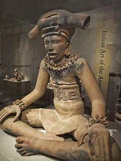Veracruz culture (Mexico)--figure of a seated chieftain