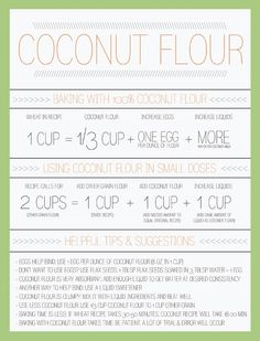 Coconut Flour Conversion Chart - coconut flour is amazing and gluten-free, but it works a bit differently than most other flours. This smart chart helps you understand how to use it. Baking With Coconut Flour, Coconut Flour Recipes, Thm Recipes, Baking Flour, Gluten Free Recipes, Real Food Recipes, Almond Flour, Recipies, Coconut Oil