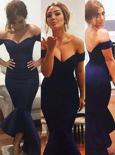 sexy prom Dresses, Long Prom Dresses,Mermaid Navy Blue Off-the-Shoulder Prom Dress,Satin Floor Length Ruched Evening Dresses