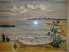 Yves BRAYER (1907-1990)  L´Etang de Vacarès (1973)  Aquarelle , 40x52 cm (15,75x20,47 in)