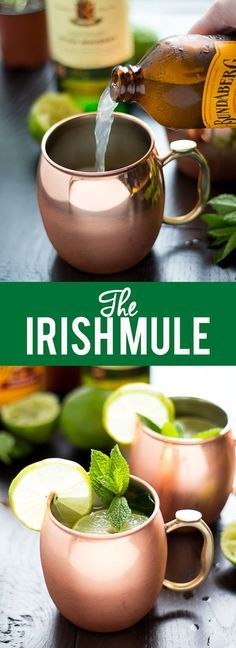The Irish Mule is a refreshing cocktail made with ginger beer, lime juice and whiskey. Enjoy this on Saint Patrick's Day or any time of year! Getting into the Irish spirit 🍀 Refreshing Cocktails, Fun Cocktails, Cocktail Drinks, Yummy Drinks, Alcoholic Drinks, Beverages, Green Cocktails, Cocktail Ideas, Irish Drinks