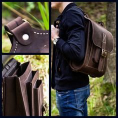 "Brown leather backpack. Large backpack made of hard and sturdy leather. 15.6"". Find out more on ETSY! InBagWeTrust"
