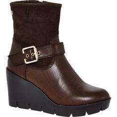 Dark Brown Wedge Ankle Boots
