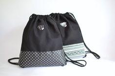 Turnbeutel schwarz, gepunktet, Festival bag, Rucksack, Baumwolle schwarz von mienBerlin auf Etsy