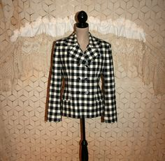 80s Vintage Black and White Wool Plaid Coat by MagpieandOtis