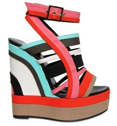Pierre Hardy Canvas Multicolor Wedge Sandals Outstep USD $486.00  Just saw these paired with an all white outfit.  Love!!!
