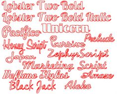 Examples of Cursive Fonts that are Weld-Friendly for Die Cuts