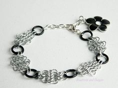 Silver and Black Chainmaille and Daisy by Bluebirdsanddaisies, £9.50
