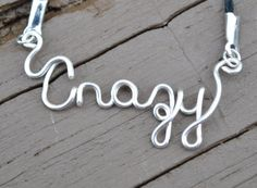 Wire Word Necklace Expressions On Colored Cord by LorisWireJewelry