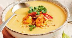 For the perfect finish, top Curtis Stone's fragrant Thai-inspired pumpkin soup with spiced prawns, fresh coriander and crunchy peanuts.