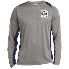Long Sleeve Heather Colorblock Poly T-shirt (Js 9s on front)