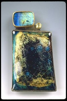 Brooch; Sifted Basse Taille enamel on rollerprinted copper; Setting: fine & sterling silver, 22K gold, spectralite, sapphire; fabricated