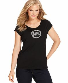 MICHAEL Michael Kors Plus Size Top, Short-Sleeve MK-Logo Tee
