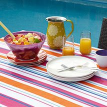 I LOVE THIS DESIGN Full of all the trendy colours! Available in tablecloths (four sizes), runner and placemat, Perfect for summer entertaining! Orange Pink, Blue Green, Purple, Trendy Colors, Bold Colors, Kitchen Dining, Dining Room, Home Id, Independent Consultant