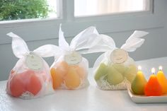 """Brushed Mini-Pears-""""New"""" for Spring 2015 a gift set of our brushed pears in mini form. Just as pretty as its larger cousins attractively packaged in a white woven bag. Comes 6 to a set."""